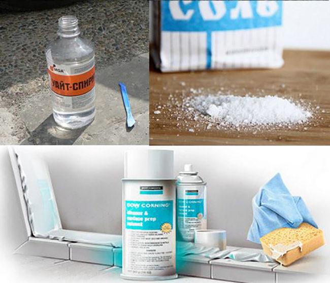 как очистить герметик от плитки